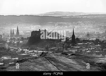 View of Edinburgh from Arthur's Seat in Holyrood Park. Scotland, United Kingdom. - Stock Photo