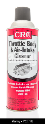 Winneconne, WI - 30 July 2018: A can of CRC throttle body and air-intake cleaner on an isolated background - Stock Photo