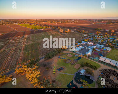 Aerial view of Monash adventure park and farmland in Riverland, South Australia - Stock Photo