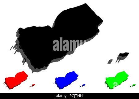 3D map of Yemen (Republic of Yemen) -  black, red, blue and green - vector illustration - Stock Photo