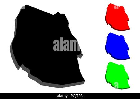 3D map of Swaziland (Kingdom of Eswatini) - black, red, blue and green - vector illustration - Stock Photo