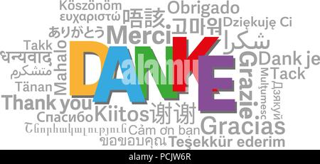 thank you word cloud in different languages with German word DANKE in center vector illustration - Stock Photo