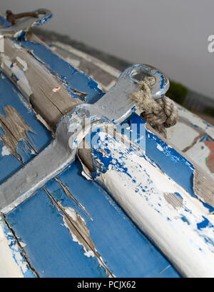 Old Blue Wooden Boat Barrow in Furness - Stock Photo