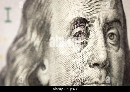 The fragment of 100 dollar bill. Close up. - Stock Photo