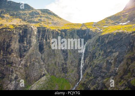 Mountain waterfall on Trollstigen road, Norway - Stock Photo