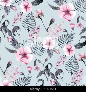 Pink flowers watercolor seamless pattern botany texture blossom rose background - Stock Photo