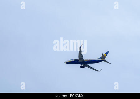 Malaga, Spain - January 13, 2018 . Airliner of Ryanair taking off at Malaga Airport. Ryanair is the largest low-cost carrier in Europe - Stock Photo
