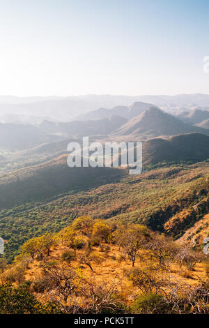 Mountains from Monsoon Palace in Udaipur, India - Stock Photo