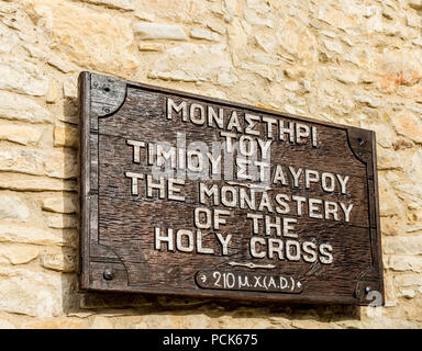 Omodos, Cyprus. May 2018. A sign for the Monastry of the Holy Cross in the traditional village Omodos in Cyprus. - Stock Photo