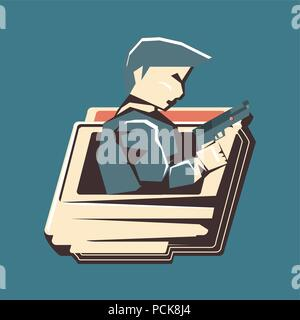 cassette with detective videogame character over blue background, colorful design. vector illustration - Stock Photo