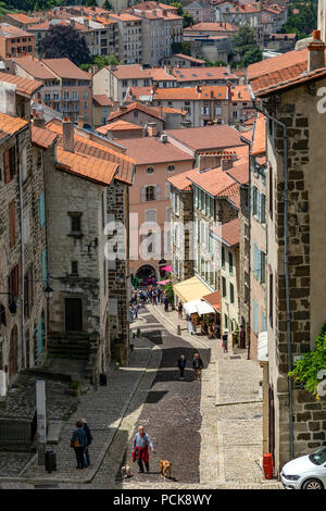 View from the main door of the Cathedral of Our Lady of the Annunciation or Cathedrale Notre-Dame du Puy in the city of Le Puy-en-Velay in the Auvergn - Stock Photo