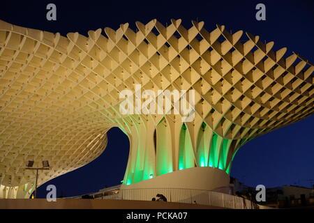 Metropol Parasol (Las Setas) in Seville at night - Stock Photo