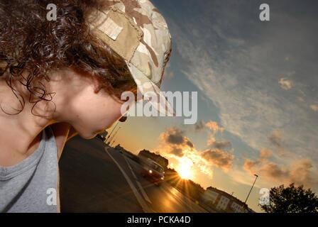 sunset,aspiration,hitchhiking - Stock Photo