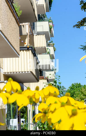 Typical Berlin tenement with balconies . Nice landscape of real estate vacation. Travel picture series. - Stock Photo