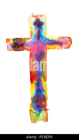 The colorful, multicolor watercolor illustration of a cross isolated on white background - Stock Photo