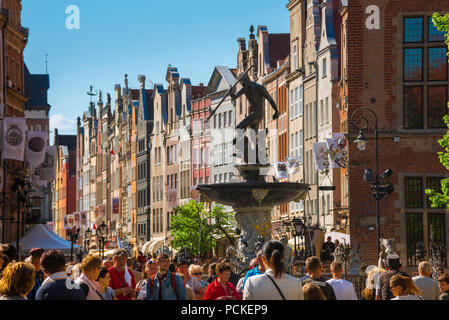 Gdansk Poland city, view along the Royal Way - the main street in the center of Gdansk on a busy summer afternoon, Pomerania, Poland. - Stock Photo