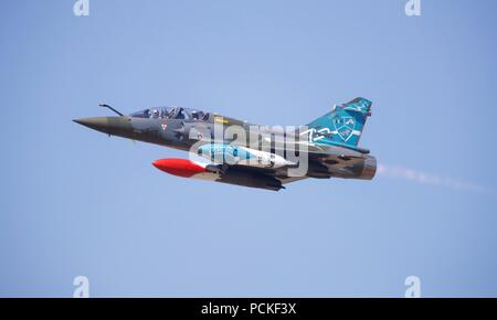 French Air Force Dassault Mirage 2000d 'Couteau Delta' tactical display team at the 2018 Royal International Air Tattoo - Stock Photo