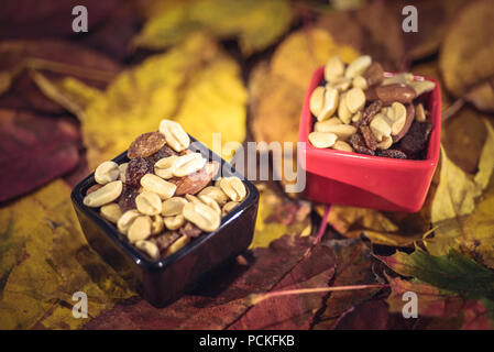 Different types of nuts in small bowls over autumn leaves. Harvest, Thanksgiving concept - Stock Photo