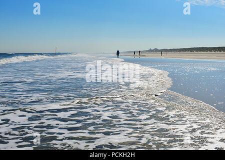 Surf on the sand beach, Juist, east frisian island, East Frisia, Lower Saxony, Germany - Stock Photo