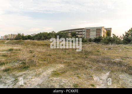 Italy, Cervia, abandoned structure, an old colony of 1940s, used in the past as summer home for children - Stock Photo