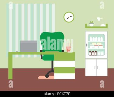 Office or doctor's office with table and chair, laptop and medicine box with clock and shelf on green wall with blinds - vector - Stock Photo