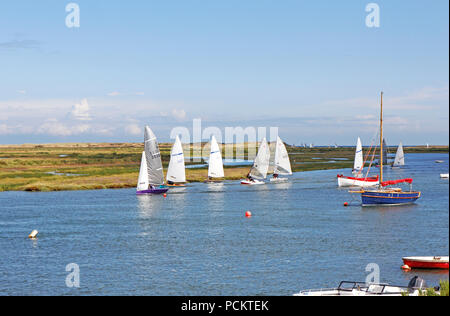 A group of sailing dinghies in Overy Creek heading in on a high tide to Burnham Overy Staithe, Norfolk, England, United Kingdom, Europe. - Stock Photo