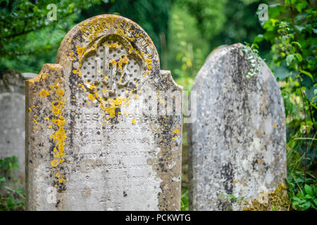 Old late 19th century gravestones at the Old Cemetery Southampton, Hampshire, England, UK - Stock Photo