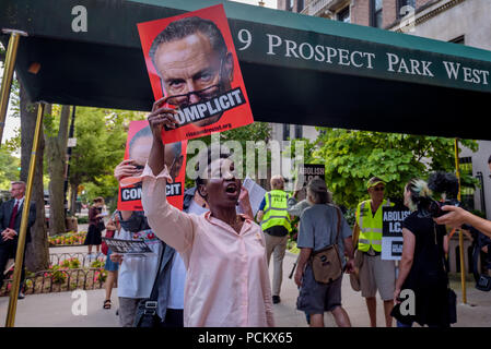 Brooklyn, United States. 01st Aug, 2018. Patricia Okoumou, Statue of Liberty climber - Members of the activist group Rise and Resist organized a protest outside Senator Chuck Schumer's home in Brooklyn on August 1, 2018 as part of the four days of protests targeting local politicians and business profiting from ICE. Activists demand Schumer to follow the lead of other cities, states, and lawmakers by standing up to ICE. Credit: Erik McGregor/Pacific Press/Alamy Live News - Stock Photo