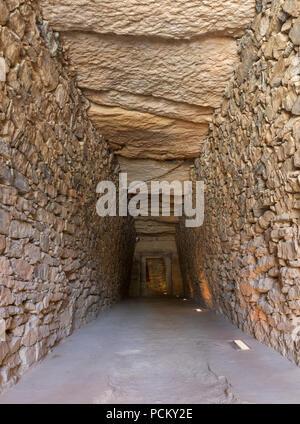 Antequera, Spain - July 10th, 2018: Tholos de El Romeral, long corridor.  Antequera, Malaga, Spain - Stock Photo