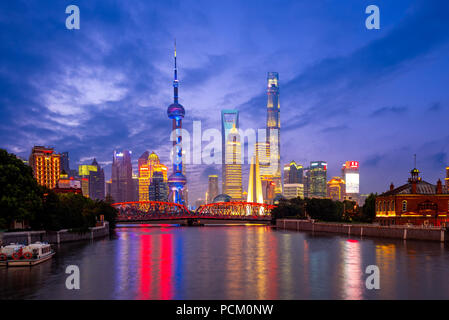 Night view of Pudong in shanghai, china - Stock Photo