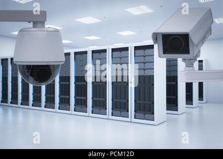3d rendering surveillance camera in server room - Stock Photo