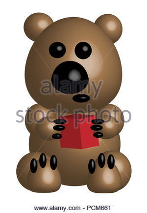 Beige bear holds a cube, 3d - Stock Photo