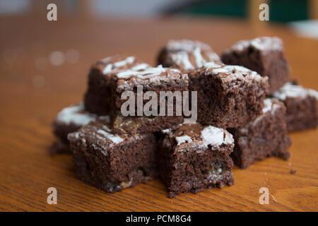 Salted caramel brownies - Stock Photo