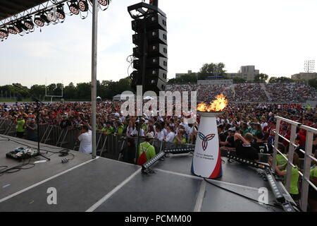 London, Ontario, Canada. Aug 2nd 2018, 3500 athletes from all over Ontario gathered at TD Waterhouse Stadium for the 2018 Ontario summer games opening ceremonies. The athletes entered the stadium in a parade watch musical performances by Courage My Love and Scott Helman, Others in attendance Brad Biederman, Sariyah Hines, Sylvia Jones, Harold Usher, Bill Merrylees, Carson Lumley, Damian Warner and 2018 Gold medalist Alex Kopacz who lit the new 2018 Ontario summer games torch. Luke Durda/Alamy Live news - Stock Photo