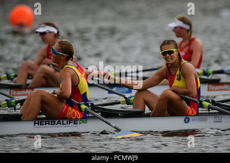 Glasgow    August  03 2018; European Championship Rowing, 2nd day of competition at the Strathclyde Country Park. PIctured Women's Quadruple Sculls, ROU.   credit steven scott taylor / alamy live news - Stock Photo