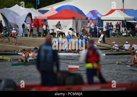 Glasgow    August  03 2018; European Championship Rowing, 2nd day of competition at the Strathclyde Country Park.    credit steven scott taylor / alamy live news - Stock Photo