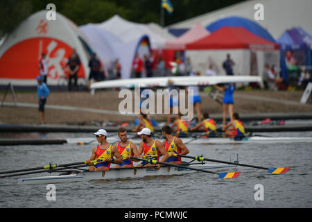 Glasgow    August  03 2018; European Championship Rowing, 2nd day of competition at the Strathclyde Country Park. PIctured Men's Four ROU.   credit steven scott taylor / alamy live news - Stock Photo
