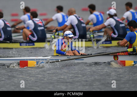 Glasgow    August  03 2018; European Championship Rowing, 2nd day of competition at the Strathclyde Country Park.  Pictured Men's Eight. ROU, Adrian Munteanu.   credit steven scott taylor / alamy live news - Stock Photo