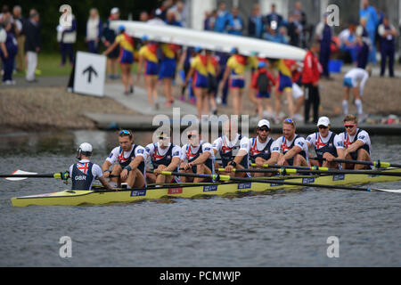 Glasgow    August  03 2018; European Championship Rowing, 2nd day of competition at the Strathclyde Country Park.  Pictured Men's Eight.  credit steven scott taylor / alamy live news - Stock Photo