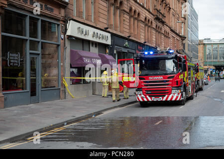 Argyle Street, Glasgow, United Kingdom, Friday 3rd August 2018. A popular city centre restaurant has gone on fire closing Glasgow's The Thai Orchid after being badly damaged in a fire which started on Friday 3rd August 2018. Argyle street outside the restaurant was closed to traffic and pedestrians causing significant congestion in the surrounding area. - Stock Photo