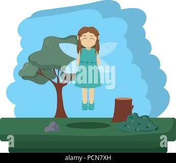 pretty fairy flying to forest reserve - Stock Photo