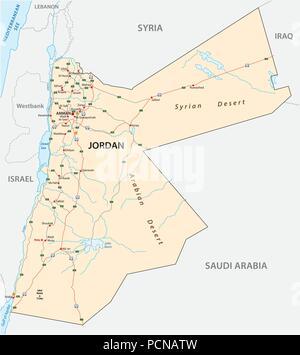 Map of jordan stock photo 207839880 alamy kingdom of jordan road vector map stock photo publicscrutiny Choice Image