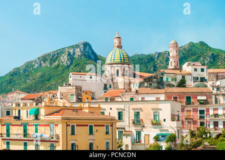 view of small Italian town in morning with beautiful Parrocchia San Giovanni church and mountains in background, Vietri Sul Mare, Salerno, Campania, I - Stock Photo