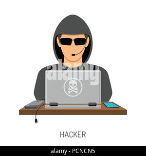 Cyber Crime Concept with Hacker - Stock Photo