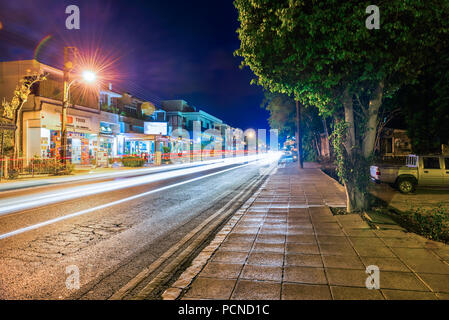 Paphos, Cyprus - September  22, 2016 : A fragment of the city at night. - Stock Photo