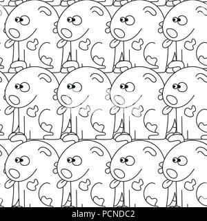 Seamless pattern with cute dogs. Vector illustration with funny puppies - Stock Photo