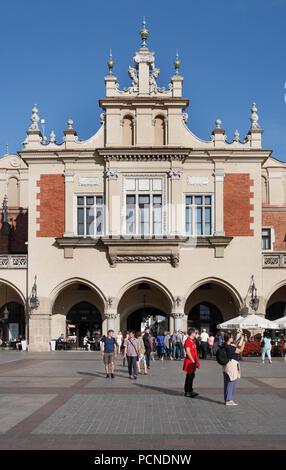 square infront of Cloth Hall. old town krakow, lesser poland, poland, europe - Stock Photo