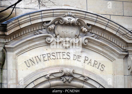 Fragment of facade of the Saint Ursule chapel of the Sorbonne in Paris, France - Stock Photo