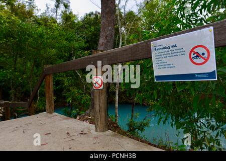 No swimming swimming risk sign, Cardwell Spa Pool, Cardwell, Queensland, Australia - Stock Photo