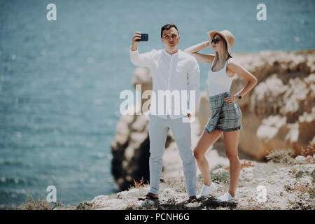 couple taking selfie self portrait photo romantic. Happy lovers, woman and man traveling on vacation - Stock Photo
